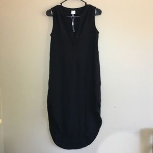 Cupio black v neck high low versatile dress